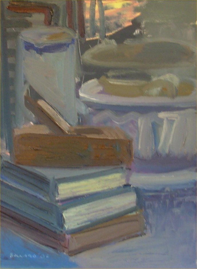 [ Dscn0202.jpg:  Woodplane and books<BR>Oil on Board 12 x 16 ]
