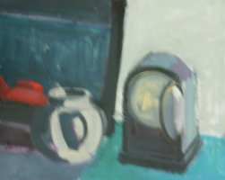 [ Dscn0400.jpg:  White Pot with Clocks<BR>Acrylic on Canvas 20 x 16 ]
