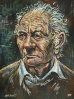 [ 1Portrait_of_Brian_Friel.jpg:  Portrait of Brian Friel<BR>Acrylic on Board 30 x 22 ]