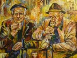 [ Dscn0386.jpg:  The Drinkers<BR>Acrylic on Board 30 x 24 - SOLD ]