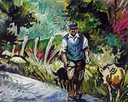 [ bennett_stephen_herding_the_calf.jpg:  Herding the calf<BR>Acrylic on Board 15 x 12 - SOLD ]