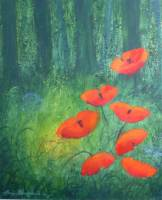 [ Dscn0568.jpg:  Poppies in the forest<BR>Acrylic on Board 19 x 24 ]