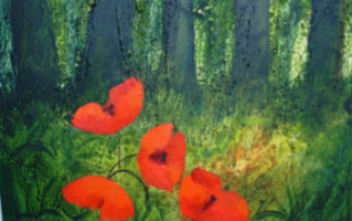 [ poppies.jpg:  Poppies <br>Acrylic on Board 7 1/2