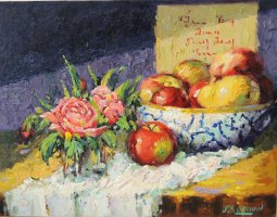 [ Dscn0450.jpg:  Still life<BR>Oil on Canvas 14 x 18 - SOLD ]