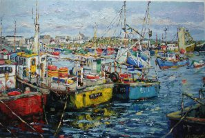 [ OldFishingBoats.jpg:  Old fishing boats Kilmore Quay co Wexford<BR>Oil on Canvas 24 x 36 - SOLD ]