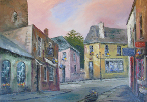 [ DSCN0693.jpg:  The Market Square Kinsale  <BR> Oil on canvas 23.50