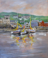 [ DSCN0694.jpg:  Boats At Rest in Summercove, Co. Cork <BR> Oil on canvas 19.75