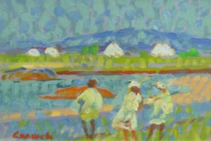 [ 2_Dscn0061.jpg:  Crossing the Bog Inishbofin Connemara Co Galway<BR>Oil on board 16 x 20 {SOLD} ]