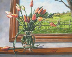 [ Dscn0085.jpg:  Tulips in glass vase<BR>Oil on board 14 x 18 ]