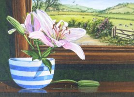 [ Dscn0089.jpg:  Pink lily in blue and white bowl<BR>Oil on board 6 x 8 ]