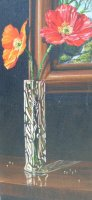 [ Dscn0098.jpg:  Poppies in glass vase<BR>Oil on board 12 x 6 ]