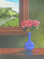 [ Rose_river.jpg:  Roses with The River Stream in The Background River<br>Oil on Board 20