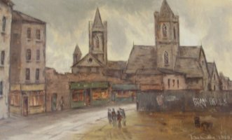 [ Dscn0418.jpg:  The rear of St Patricks<BR>Oil on Canvas 23 x 15 Sold ]