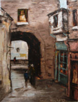 [ merchants2.jpg:  Merchants Arch Temple Bar<br>Oil on Canvas 12