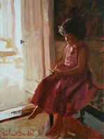 [ 1_girl_pink_dress.jpg:  Girl with Pink Dress Reading a Book<br>Acrylic on Canvas 16