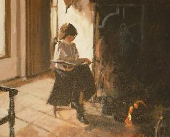 [ Dscn0824.jpg:  Reading at the fireside<BR>Acrylic on Canvas 14 x 18 - sold ]