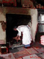 [ davidson_rowland_cooking_griddle.jpg:  Cooking in the Gridle<BR>Acrylic on Canvas 12 x 16 - sold ]