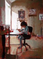 [ davidson_rowland_in_papas_studio.jpg:  In Papas studio<BR>Acrylic on Canvas 16 x 22 - sold ]