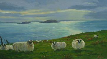 [ Dscn0873.jpg:  Sheep grazing Bolus Head Co Kerry<BR>Oil on Canvas 16 x 24 ]