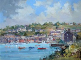 [ DSC04357.jpg:  From the Scilly looking to Pier Road Kinsale<BR>Oil on Board 9 x 12.5 - SOLD ]