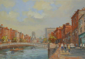 [ DSCN0722.jpg:  Halfpenny Bridge, Dublin <br> Oil on Board 8