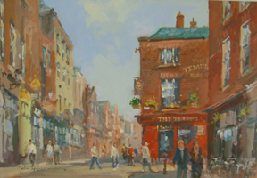 [ DSCN0725.jpg:  Templebar, Dublin <br> Oil on Board 8