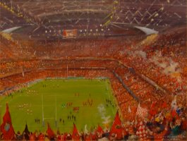 [ Dscn0325.jpg:  Munster win the Heineken Cup at the Millenium Stadium, Cardiff, Wales 2006<BR>Oil on Board 18 x 14 ]
