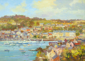 [ ardbrack.jpg:  From Ardbrack looking to Pier Road & Marina, Kinsale<br>Oil on Board 9