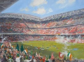 [ ireland_grand_slam.jpg:  Ireland Win Grand Slam Millenium Stadium Cardiff Wales 2009<BR>Oil on Canvas 18 x 24 ]