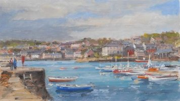 [ kinsale4.jpg:  From Pier Road looking into Kinsale and the Scilly Kinsale Co Cork<BR>Oil on Board 8 x 13 - sold ]