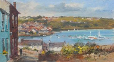 [ kinsale_3.jpg:  From John's Hill looking out to Scilly and the Harbour Kinsale Co Cork<BR>Oil on Board 8 x  - sold ]