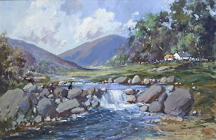 [ Man_Fishing_Beside_Cottages.jpg:  Man Fishing Beside Cottages <BR>Oil on Canvas 24