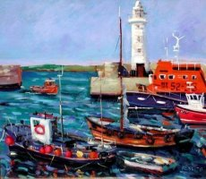 [ donaghadee_harbour_co_down_500_433_large.jpg:  Donaghadee Harbour, Co Down<BR>Oil on Board 18 x 19 ]