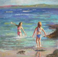 [ Dscn0102.jpg:  Evening swim<BR>Oil on canvas 11 x 11 ]