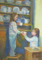 [ Dscn0104.jpg:  At the dresser<BR>Oil on canvas 14 x 10 ]