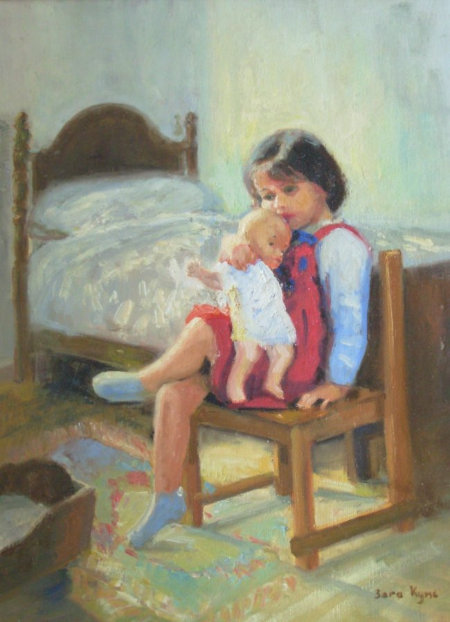 [ Dscn0105.jpg:  Little mother<BR>Oil on canvas 16 x 12 ]