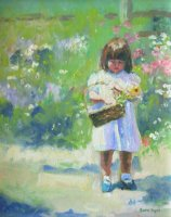 [ Dscn0106.jpg:  Little girl with a basket<BR>Oil on canvas 10 x 8 - sold ]
