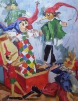 [ Jack_in_the_Box_18x14_500x643_oob_large.jpg:  Jack in the Box<BR>Oil on Board 14 x 18 - sold ]