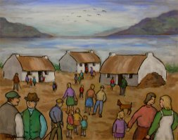 [ Dscn0293.jpg:  Loughside cottage dwellings, Connemara, Co Galway<BR>Oil on Board 20 x 16 ]