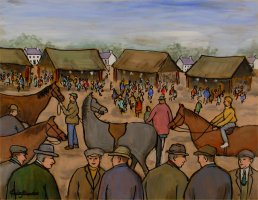 [ Dscn0297.jpg:  Market day Pony Sale<BR>Oil on Board 18 x 14 ]