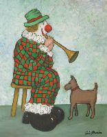 [ Dscn0804.jpg:  Clown serenading his pet<BR>Oil on Board 20 x 16 ]