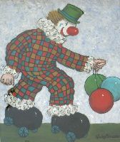 [ Dscn0806.jpg:  Clown rolling skating balloons<BR>Oil on Board 20 x 16 ]