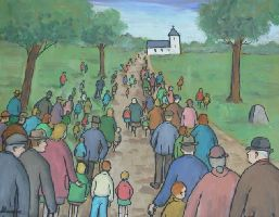 [ Dscn0809.jpg:  Sunday morning churchgoers<BR>Oil on Board 20 x 16 ]