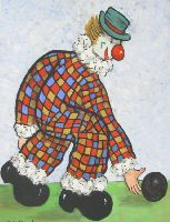 [ Dscn0811.jpg:  Clown bowling<BR>Oil on Board 20 x 16 ]