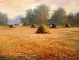 [ haystacks_500_381_large.jpg:  Haystacks<BR>Oil on Board 16 x 20 - sold ]