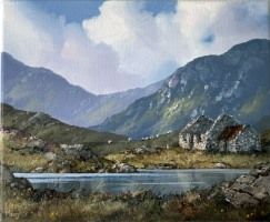 [ 11IMG_5645.jpg:  Famine Cottage in the Twelve Bens, Connemara Co Galway<br>Oil on Canvas 10