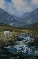 [ 12IMG_1094.jpg:  Connemara Ponies in Maam Valley Co Galway<br>Oil on Slim Canvas 30