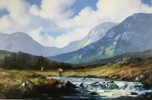 [ 131Ponies_at_Owenglin_River.jpg:  Ponies at Owenglin River,Connemara,Co Galway<br>Oil on Deep Edge Canvas 20