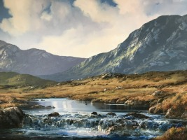 [ 13IMG_6805.jpg:  Sheep in Maam Valley,Connemara,Co.Galway<BR>Oil On Deep Edge Canvas 24