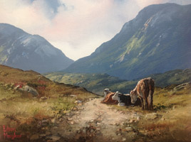[ 16Cattle_Resting_in_Inagh.jpg:  Cattle Resting  in Inagh Valley Connemara Co Galway <BR>Oil on Canvas 10